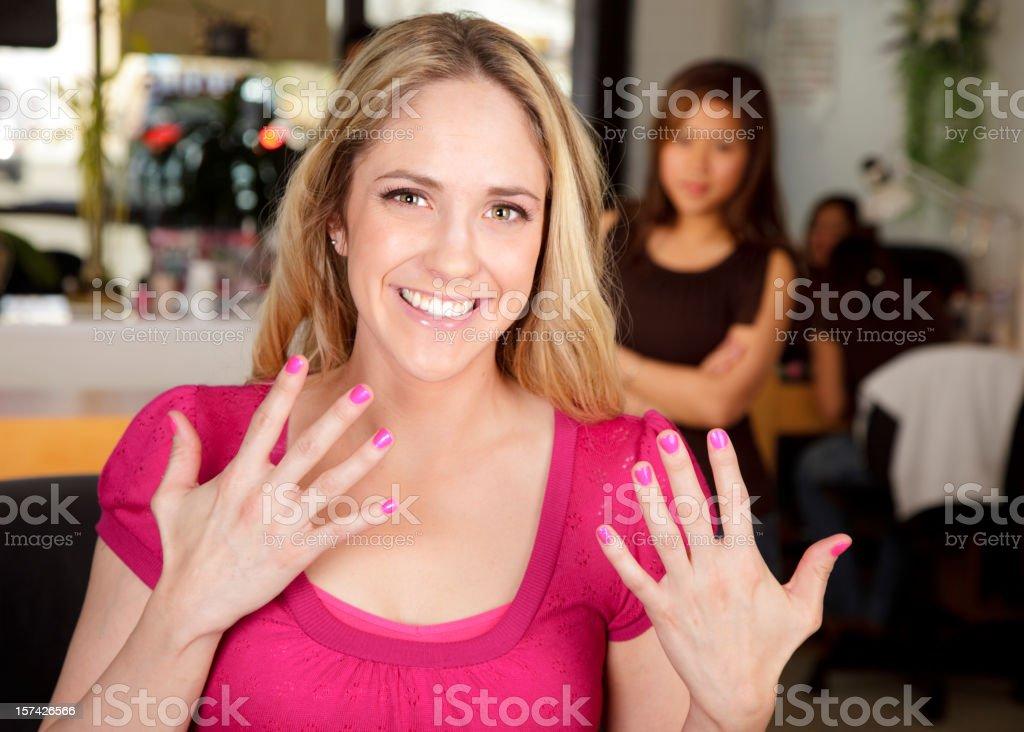 Woman Showing Fingernails royalty-free stock photo