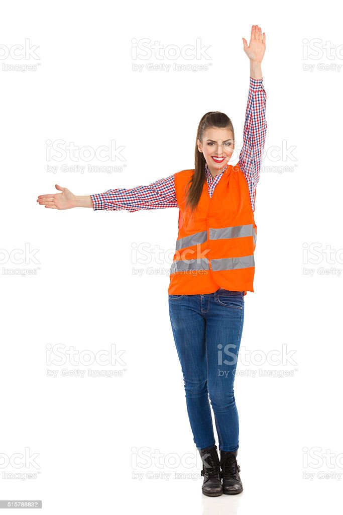 Woman Showing Hand Signal stock photo