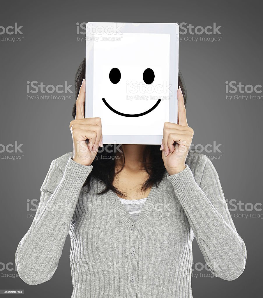 woman showing happy expression icon stock photo