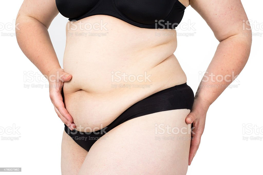 Woman showing her fat body. Healthy lifestyles concept. stock photo