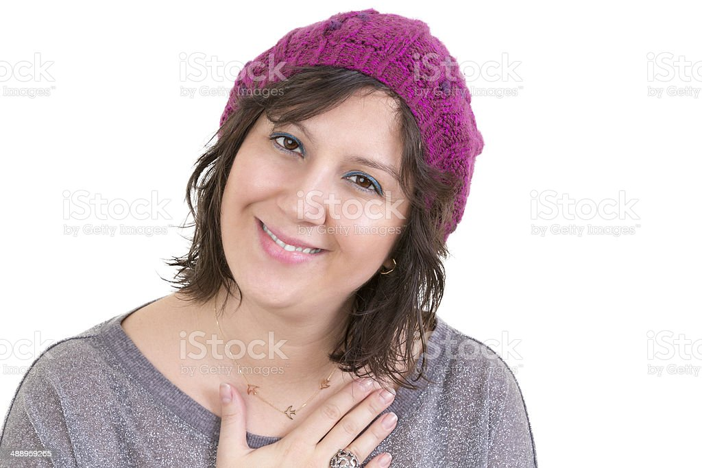 Woman showing her heartfelt gratitude stock photo