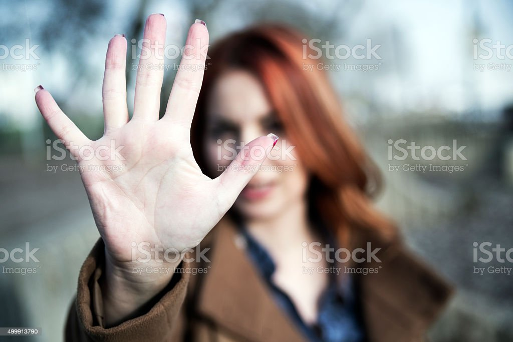 Woman showing her palm stock photo