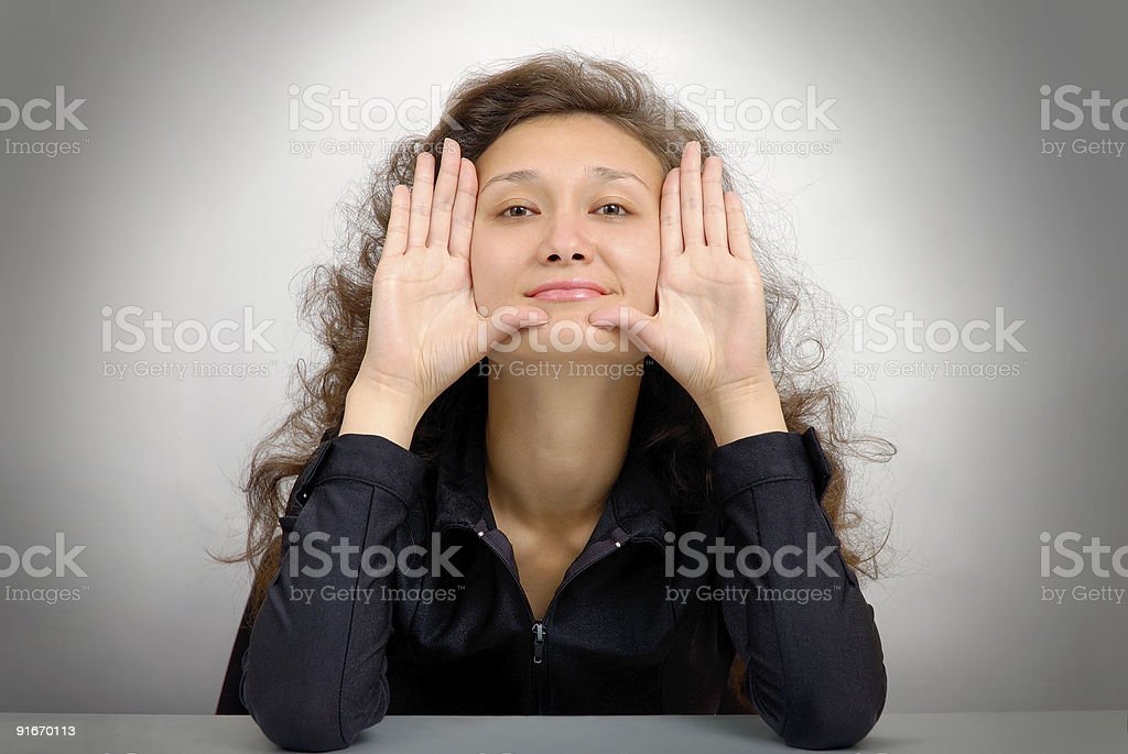 Woman showing her palms royalty-free stock photo