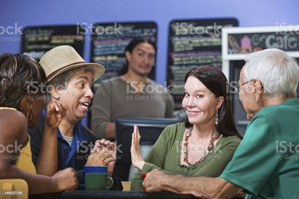 Woman Showing Man Her Hand stock photo