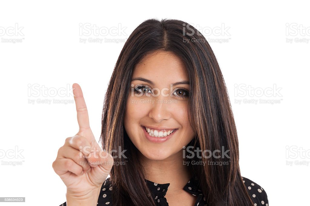 Woman Showing Number One stock photo