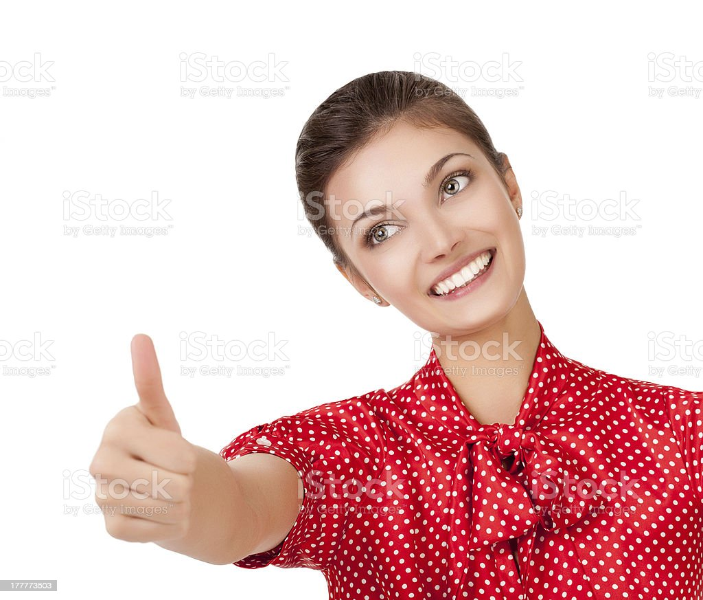Woman showing OK. Looking at camera and smiling royalty-free stock photo