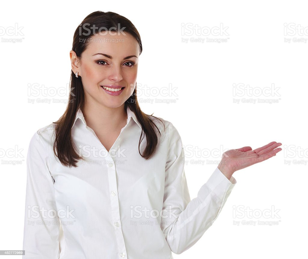 Woman showing open hand royalty-free stock photo