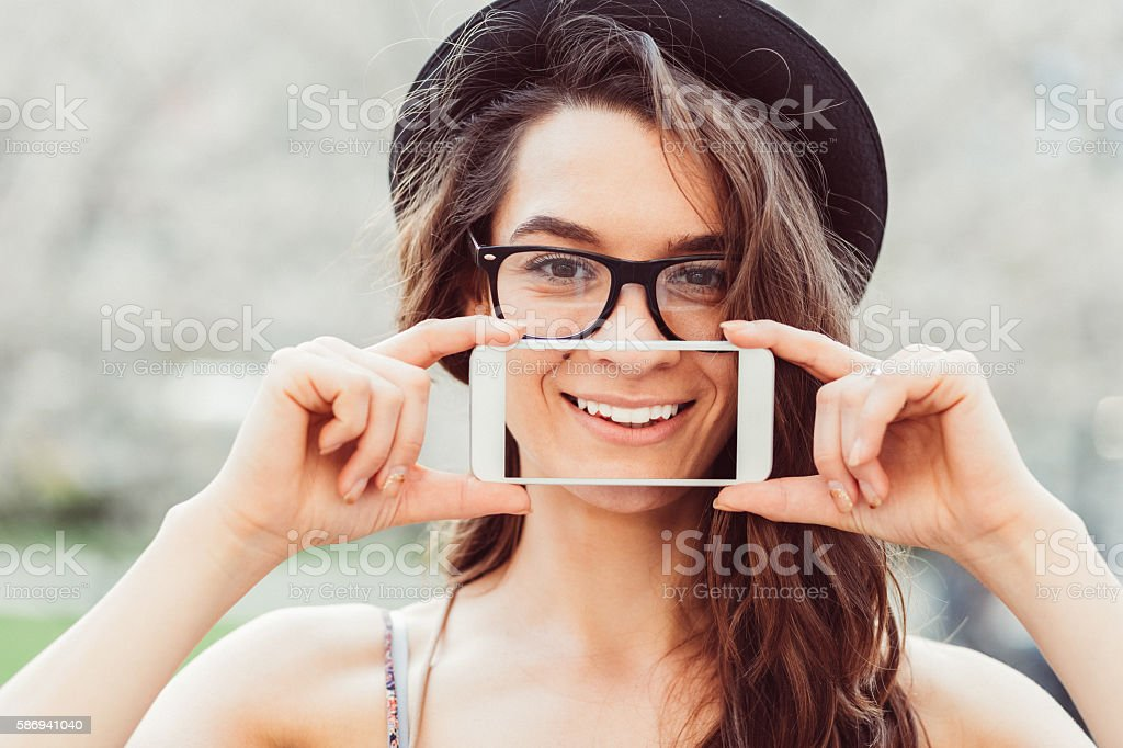 Woman showing perfect smile stock photo