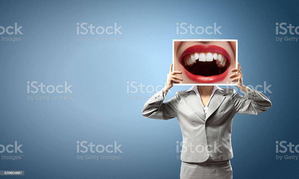 Woman showing photo stock photo