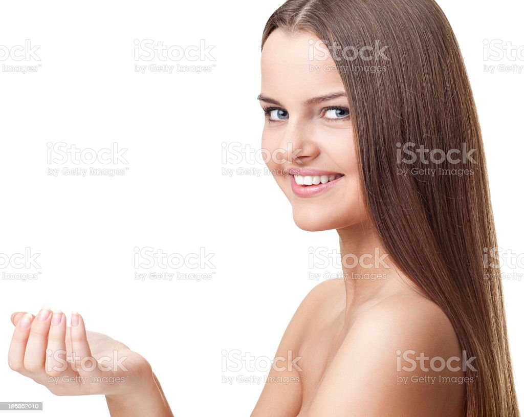 Woman Showing Product royalty-free stock photo