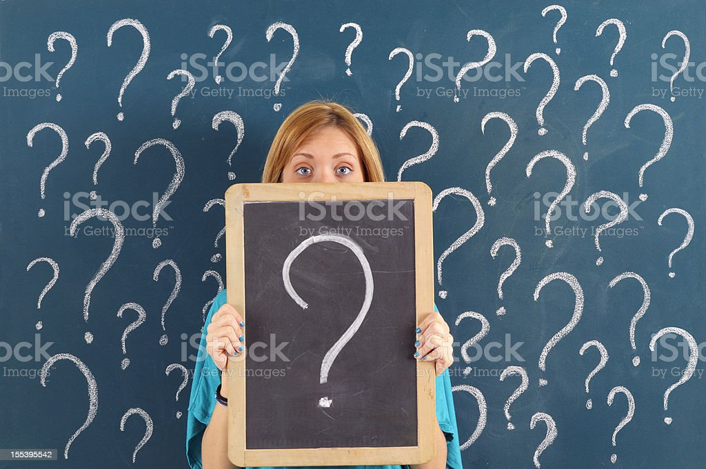 Woman Showing Question Mark on Blackboard royalty-free stock photo