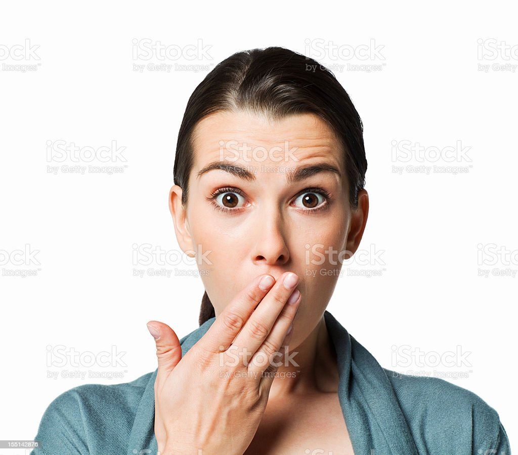 Woman Showing Shock - Isolated stock photo