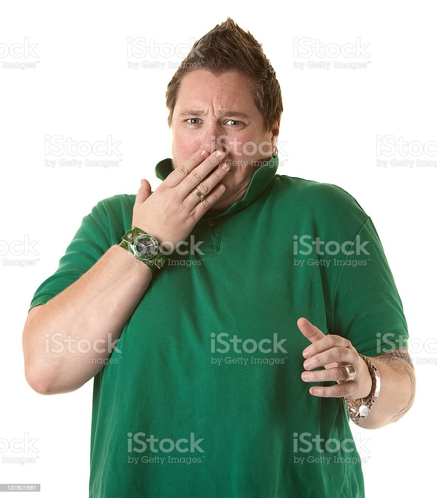 Woman Showing Shock or Covering a Burp stock photo
