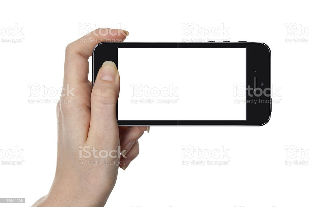 Woman showing smart phone isolated on white stock photo