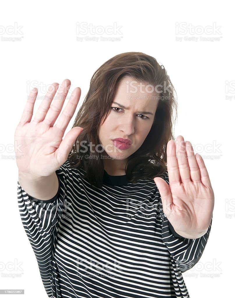 woman showing stopping hands stock photo