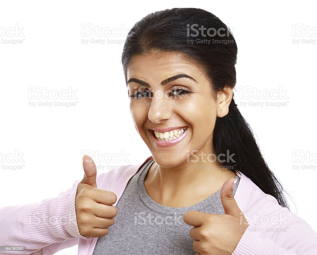 Woman showing thumb up royalty-free stock photo