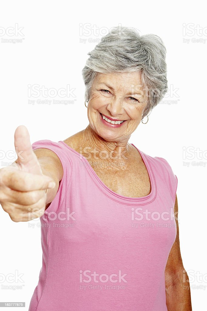 Woman showing thumbs up sign royalty-free stock photo