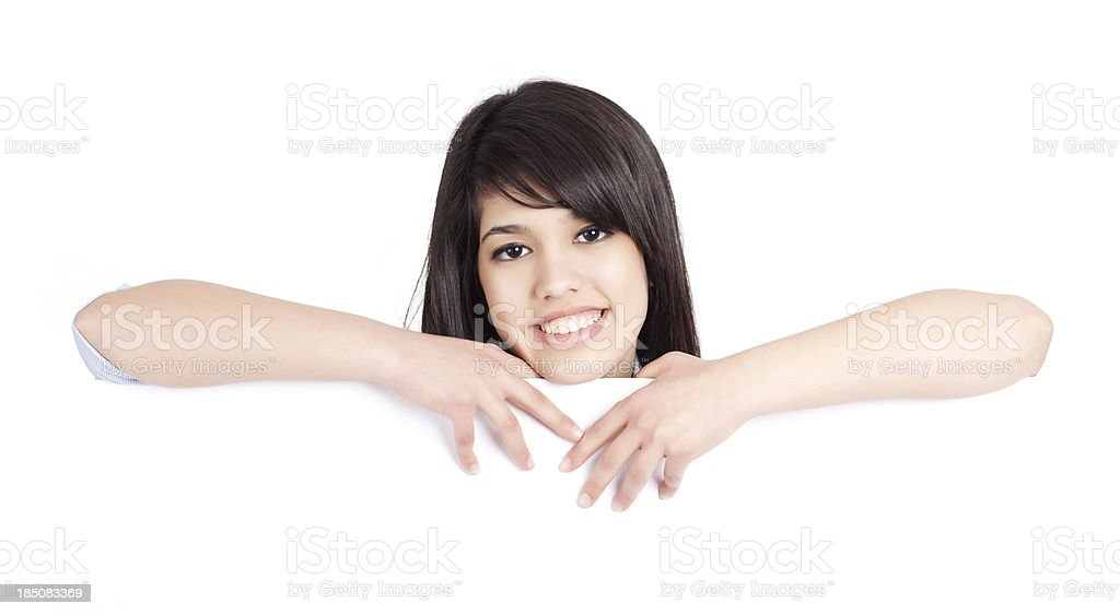 Woman showing white blank sign billboard. royalty-free stock photo