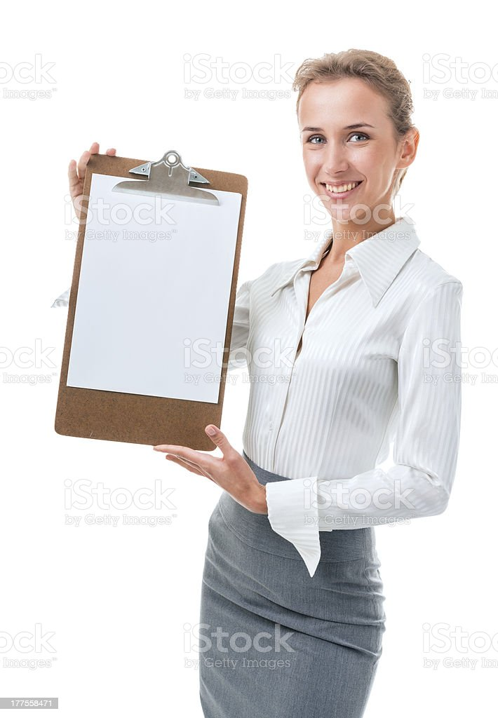 woman shows a blank clipboard royalty-free stock photo