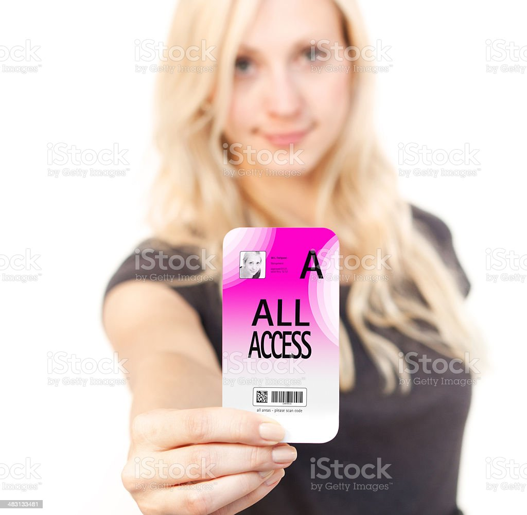 Woman shows Access card stock photo