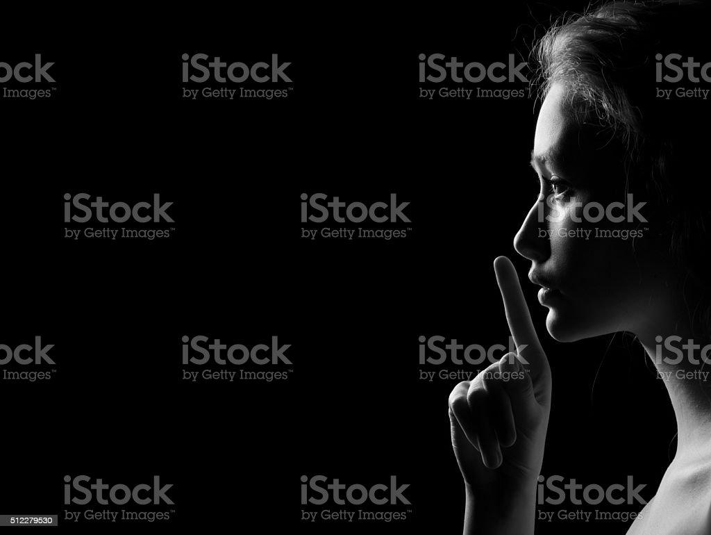 Woman Shows Silence stock photo