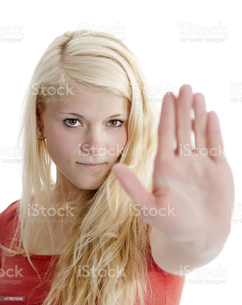 woman shows stop stock photo