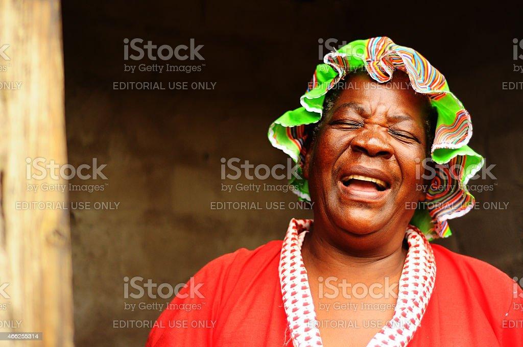 Woman shows toilet stock photo