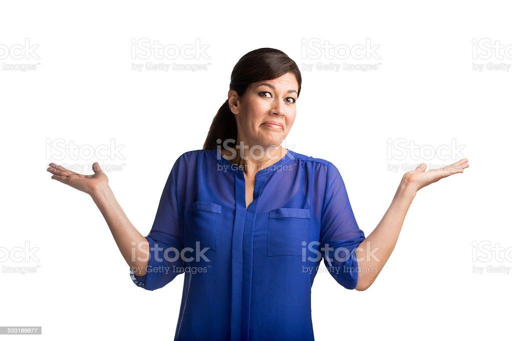 Woman shrugging stock photo