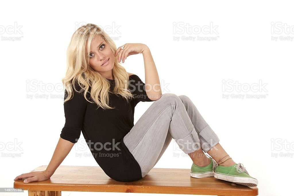 Woman side bench envious expression royalty-free stock photo