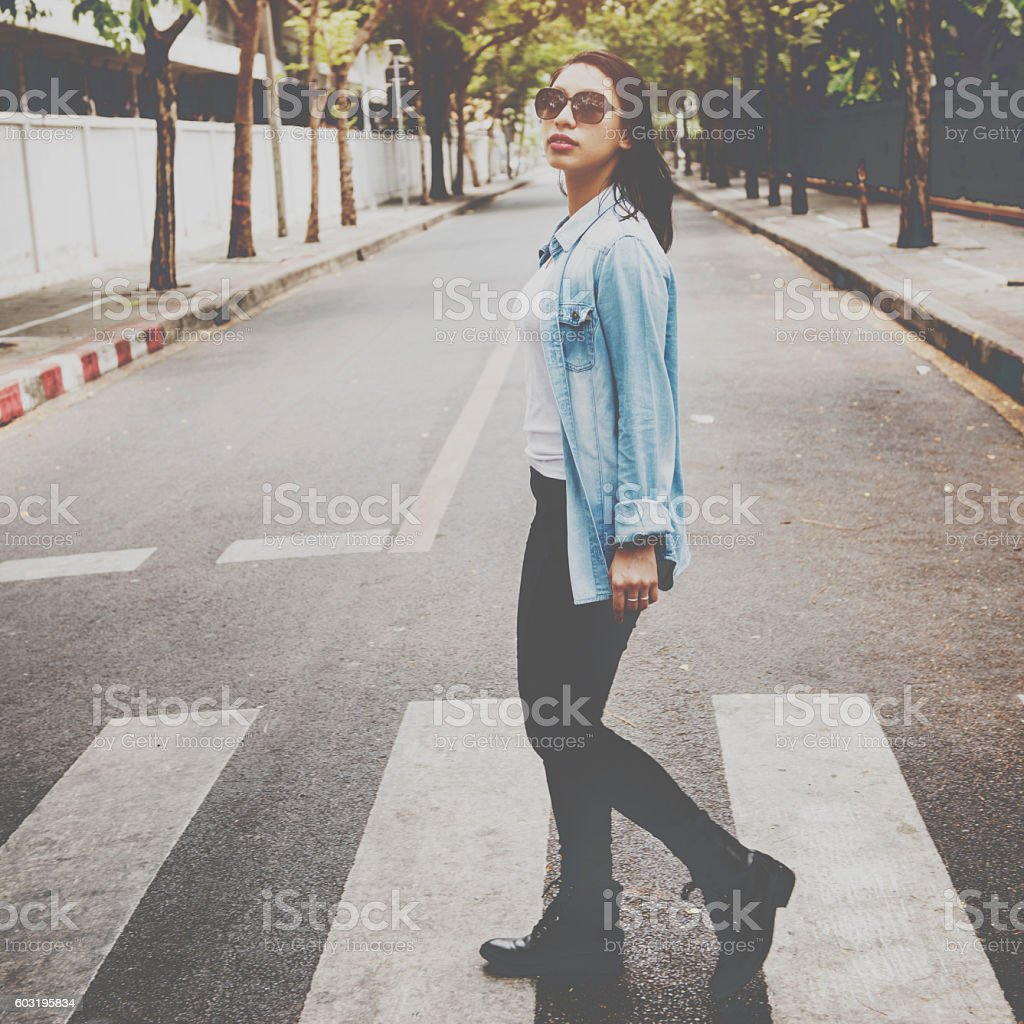Woman Sightseeing Walking Crosswalk Lifestyle Concept stock photo