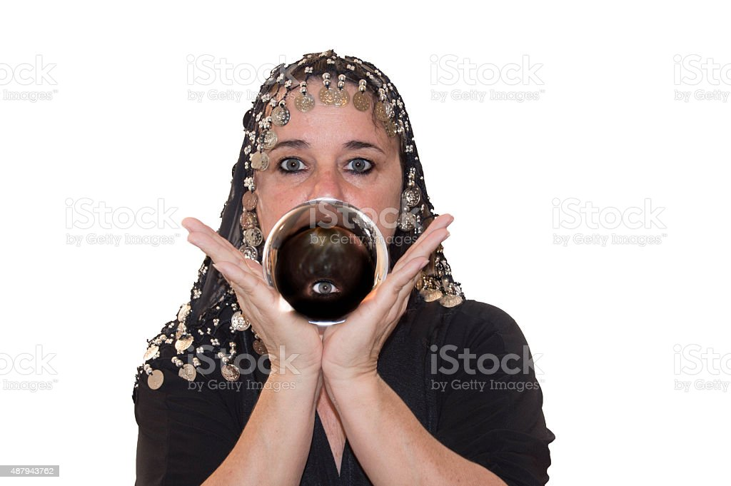 Woman Silhouette Holding Crystal Ball with Eye stock photo