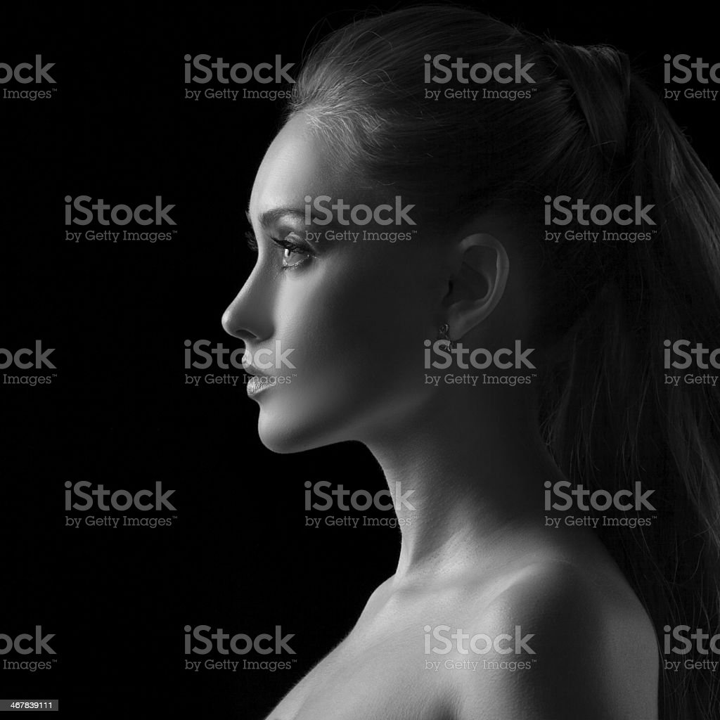 Woman silhouette in Black & White royalty-free stock photo