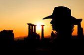 Woman Silhouette with Cowboy Hat
