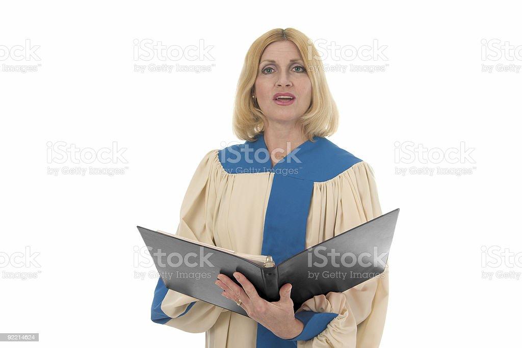 Woman Singer in Church Choir stock photo