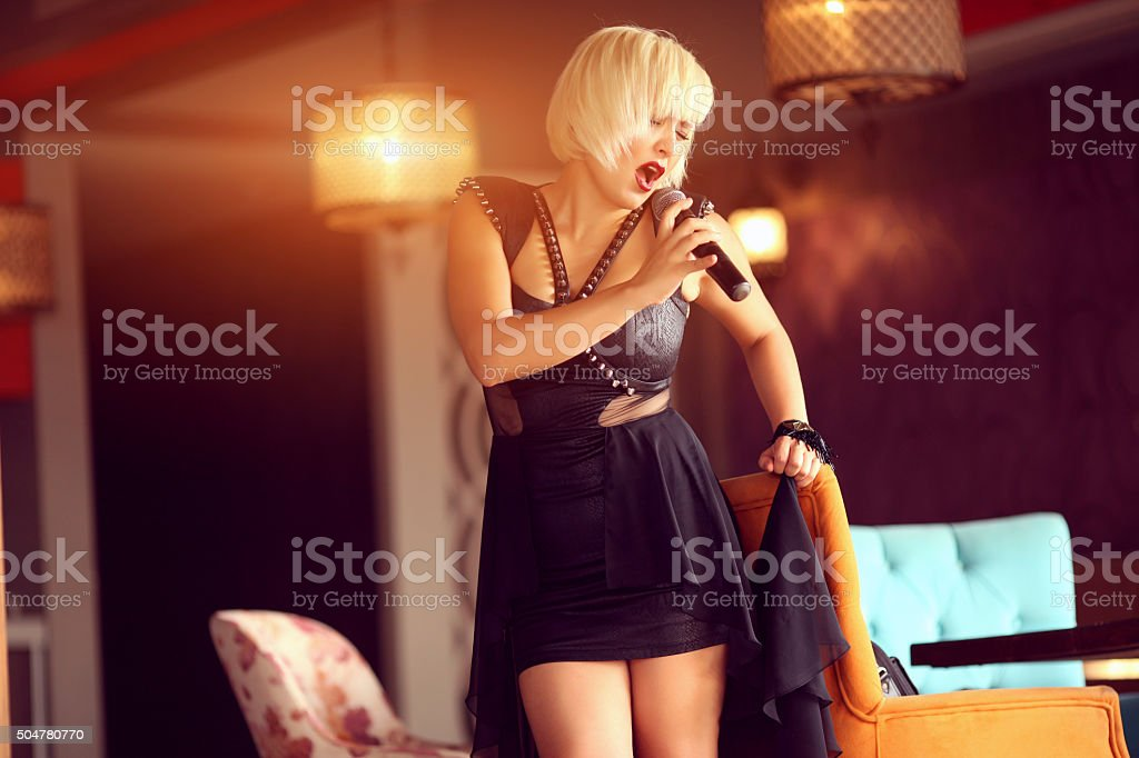 Woman Singing stock photo