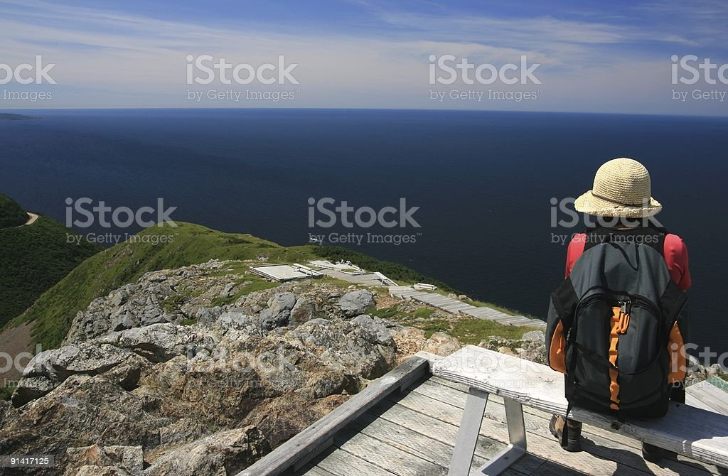 Woman Sitting at Skyline Trail stock photo
