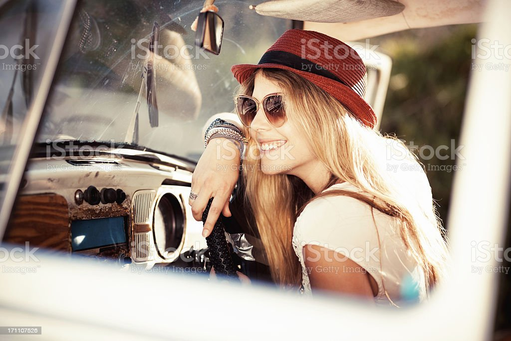 Woman Sitting In a Vintage Car royalty-free stock photo