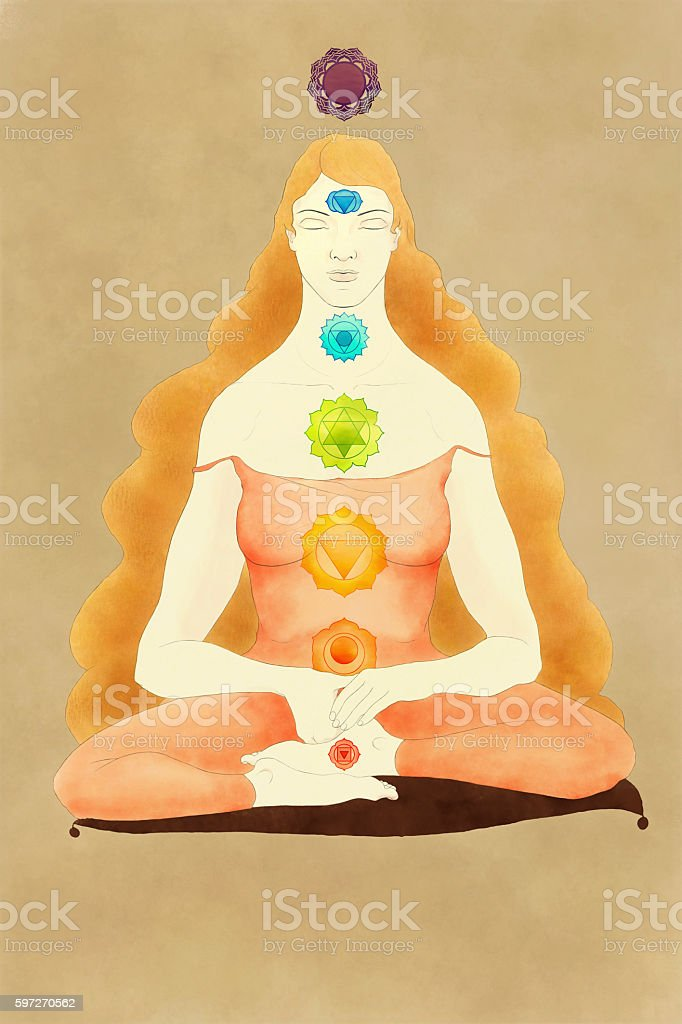 Woman sitting in meditation with chakras symbols stock photo