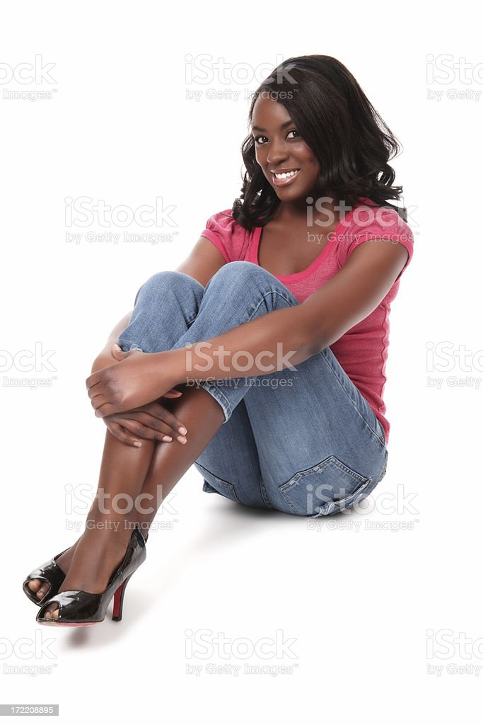 Woman Sitting on Floor stock photo