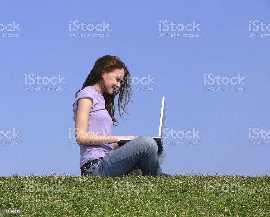 Woman sitting with notebook royalty-free stock photo