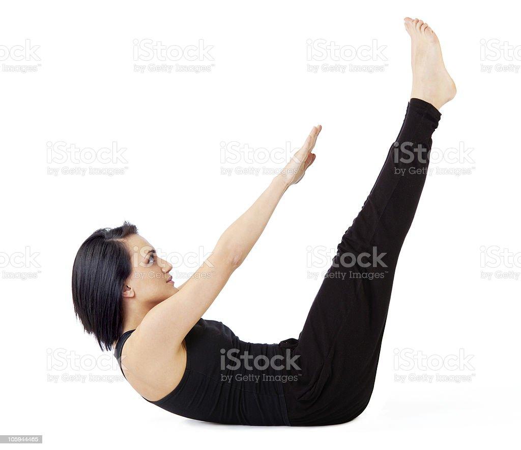 Woman sit-ups exercise royalty-free stock photo