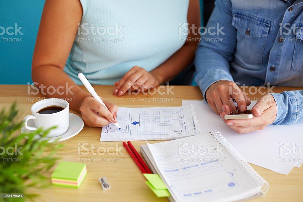 Woman sketching design stock photo