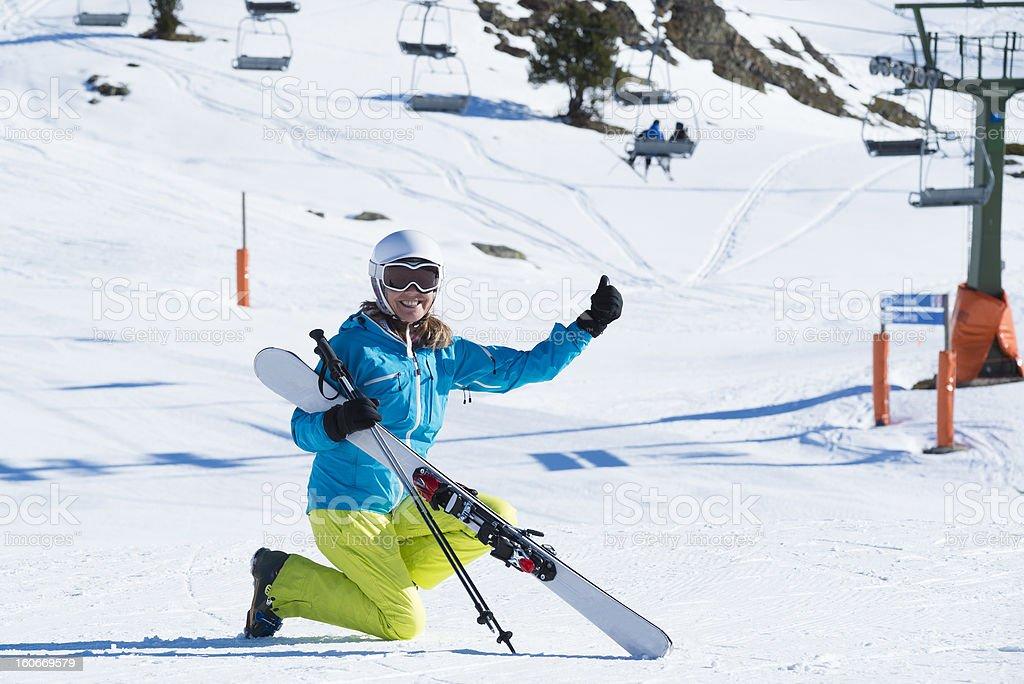 Woman skier at the ski resort royalty-free stock photo