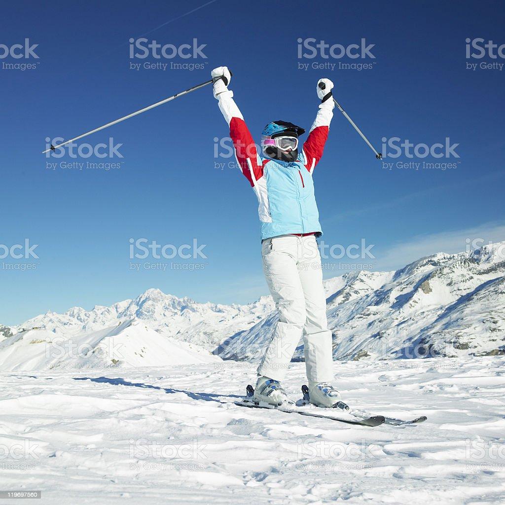 woman skier stock photo