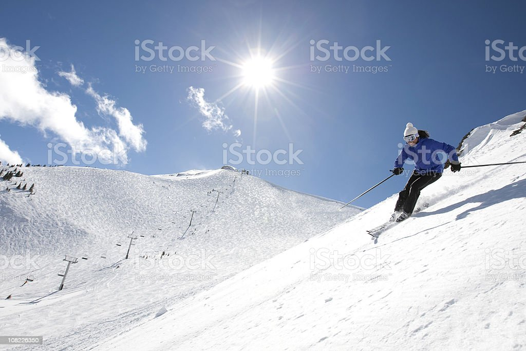 Woman skiing royalty-free stock photo