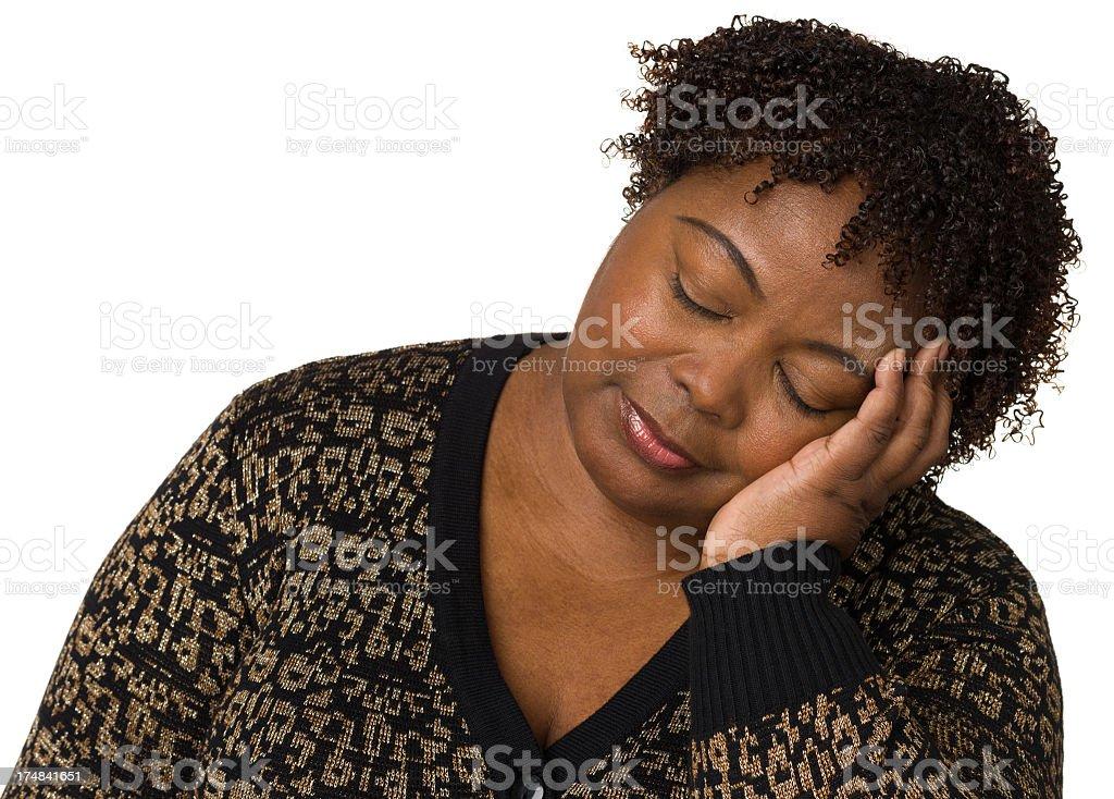 Woman Sleeping, Resting Head On Hand royalty-free stock photo
