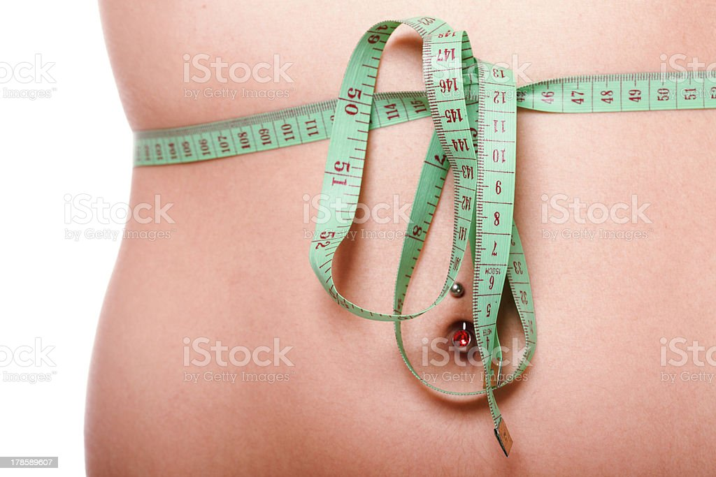 woman slim stomach with measuring tape around it royalty-free stock photo