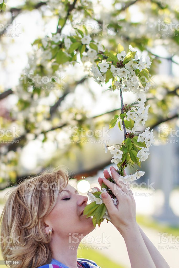 Woman smell flower royalty-free stock photo