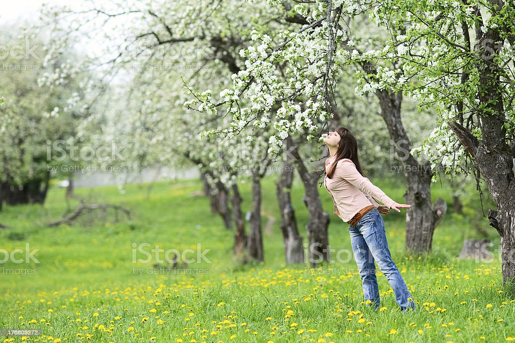 Woman smelling flowers royalty-free stock photo
