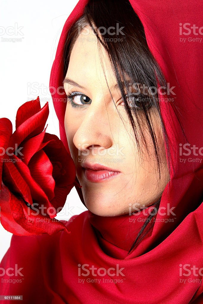 Woman smelling rose royalty-free stock photo